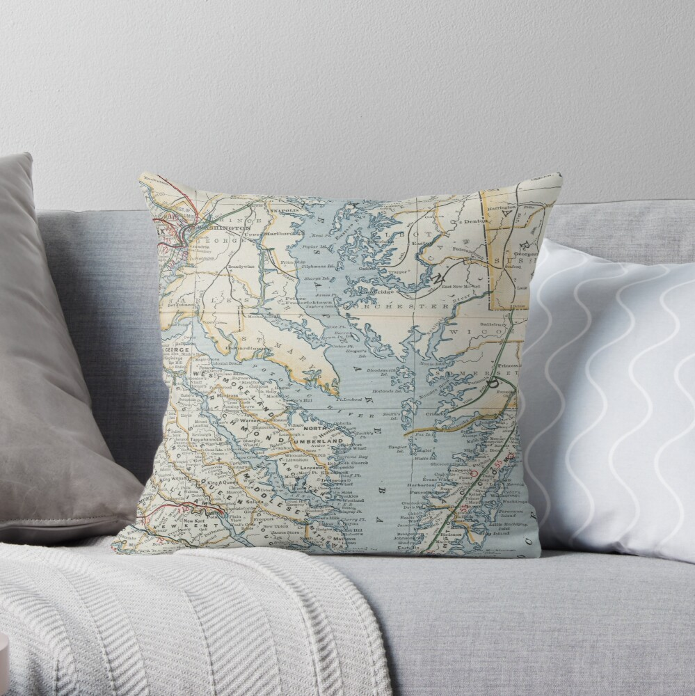 Vintage Map of the Chesapeake Bay (1901) Throw Pillow