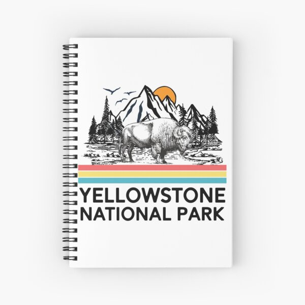 Vintage Yellowstone National Park Retro 80s Mountains T-Shirt Tee Gifts Spiral Notebook