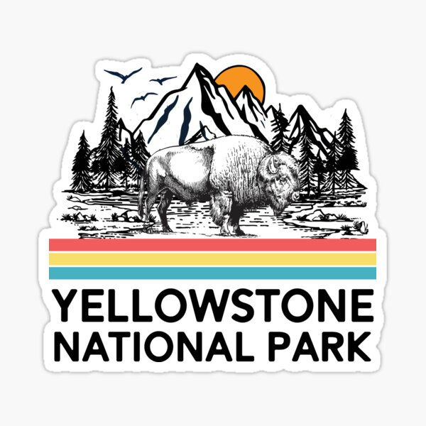 Vintage Yellowstone National Park Retro 80s Mountains T-Shirt Tee Gifts Sticker