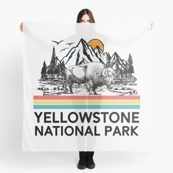 Vintage Yellowstone National Park Retro 80s Mountains T-Shirt Tee Gifts Scarf