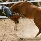Flying rodeo cowboy thrown over the top by Phil  Hatcher