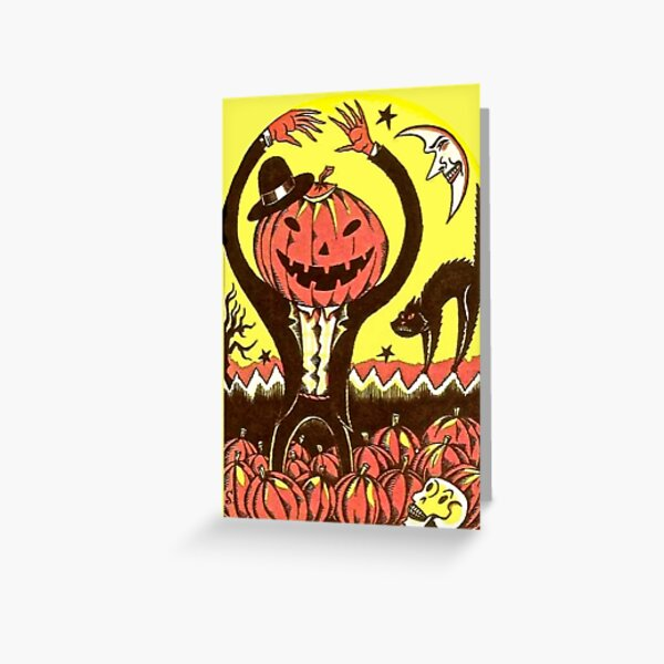 Halloween In The Pumpkin Field Greeting Card