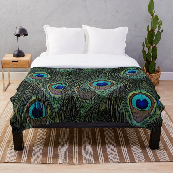 Peacock feathers, peacock lover gifts, cool bird outfits, great feather patterns Throw Blanket