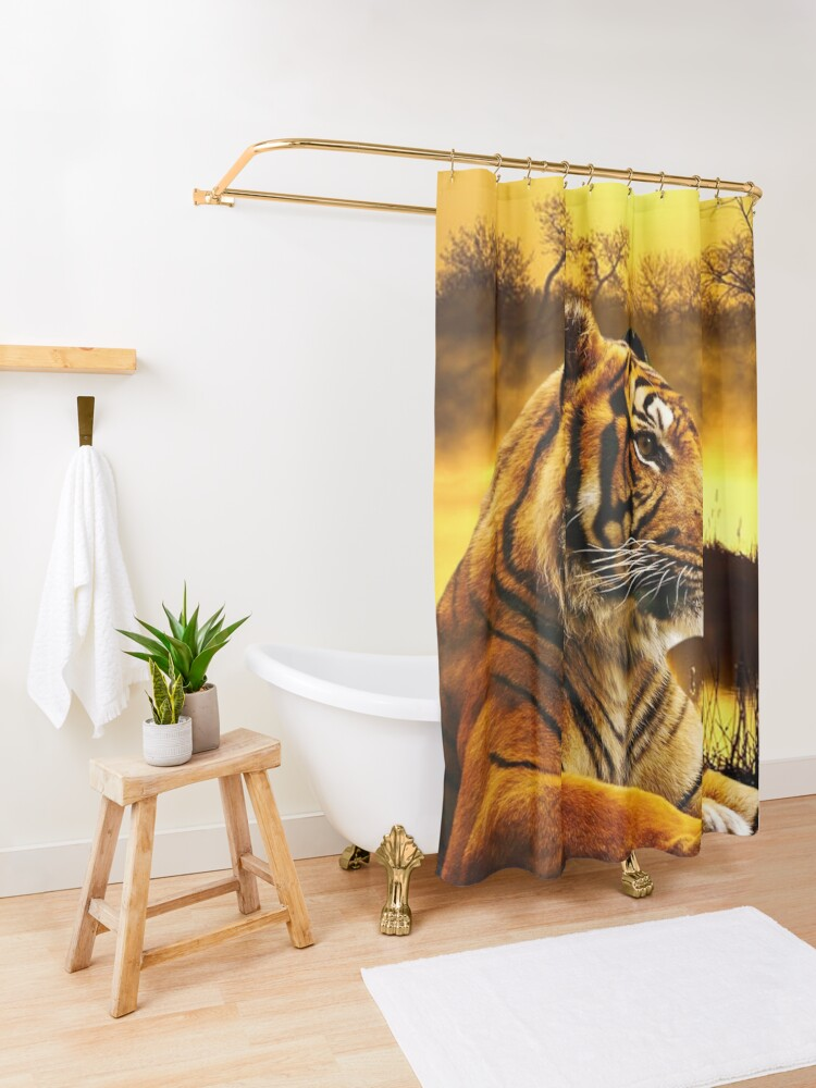 Alternate view of Tiger and Sunset Shower Curtain