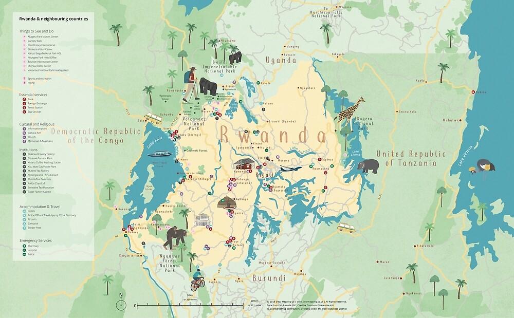 Rwanda Map by clearmappingco