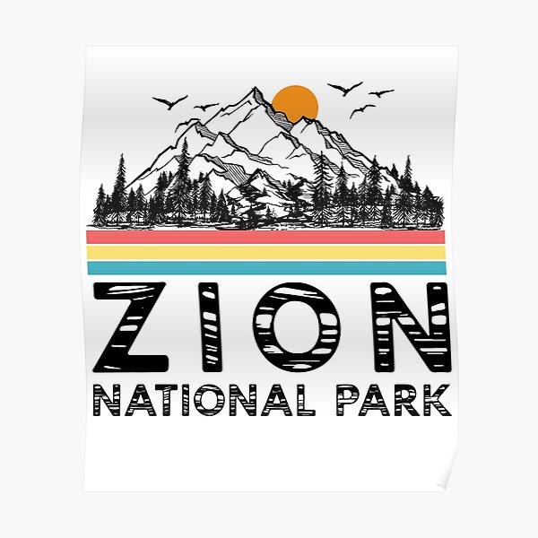 Vintage Zion National Park Retro Utah Mountain T-Shirt Poster
