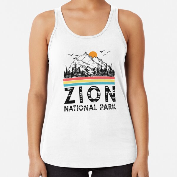 Vintage Zion National Park Retro Utah Mountain T-Shirt Racerback Tank Top
