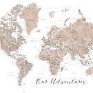 Unsere Abenteuer, braune Aquarellweltkarte mit US-Landeshauptstädten von blursbyai