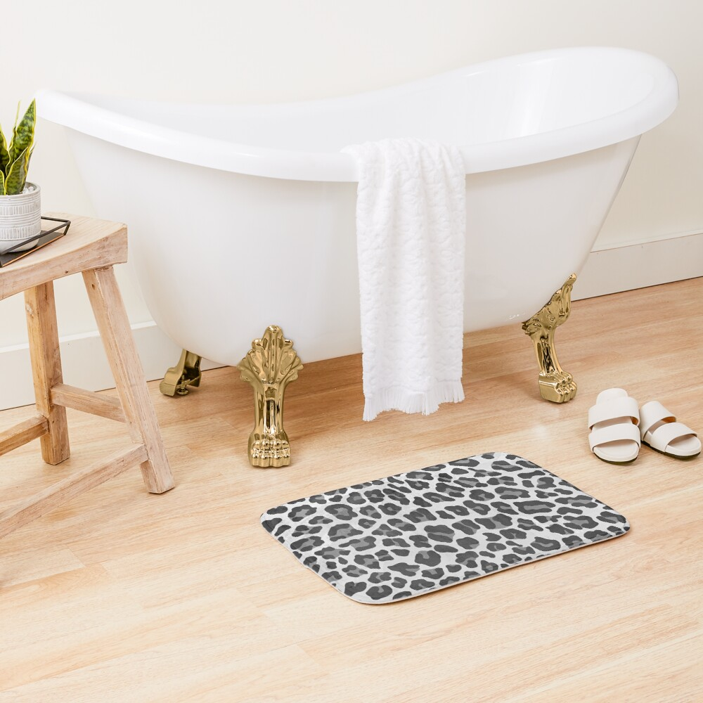 Leopard Gray and Light Gray Print Bath Mat