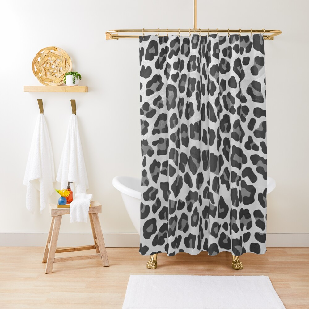 Leopard Gray and Light Gray Print Shower Curtain