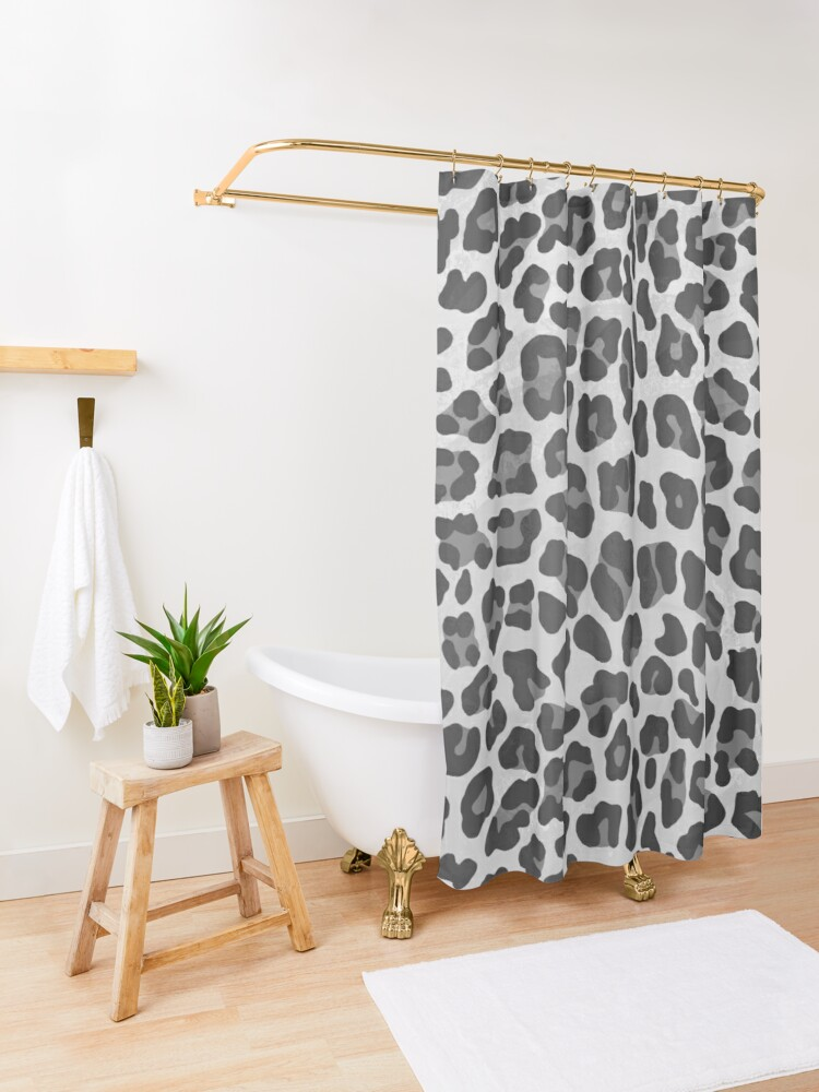 Alternate view of Leopard Gray and Light Gray Print Shower Curtain