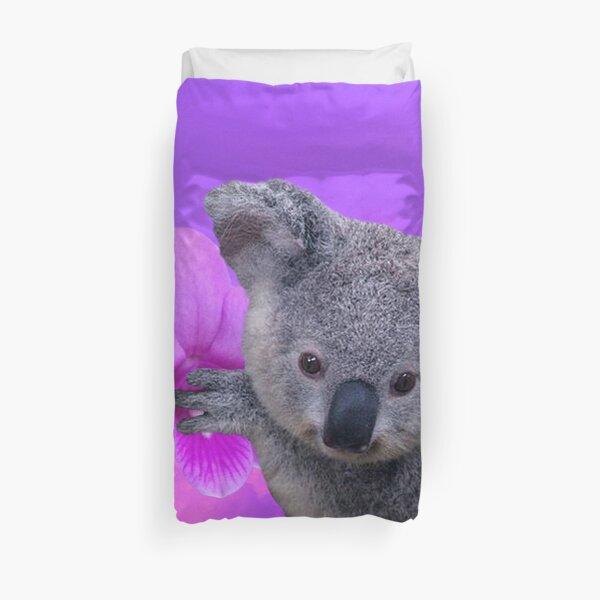 Koala and Orchids Duvet Cover