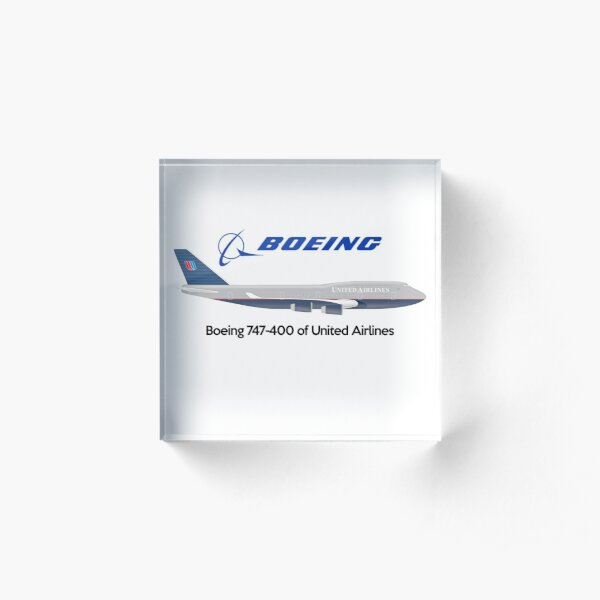 Boeing 747 United Airlines Acrylic Block