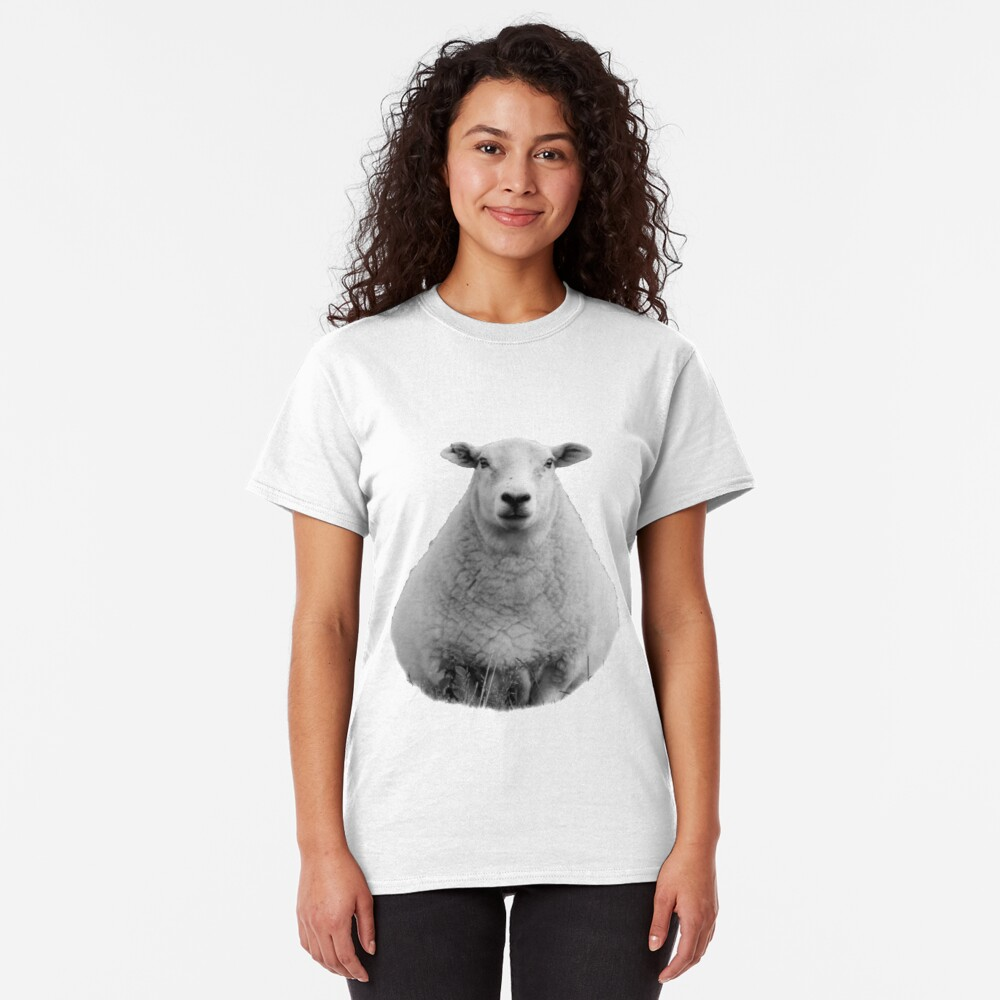 Black and White Sheep in Field Classic T-Shirt