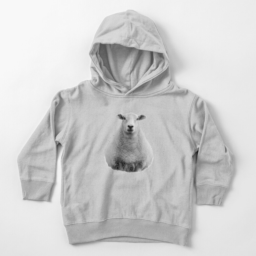 Black and White Sheep in Field Toddler Pullover Hoodie