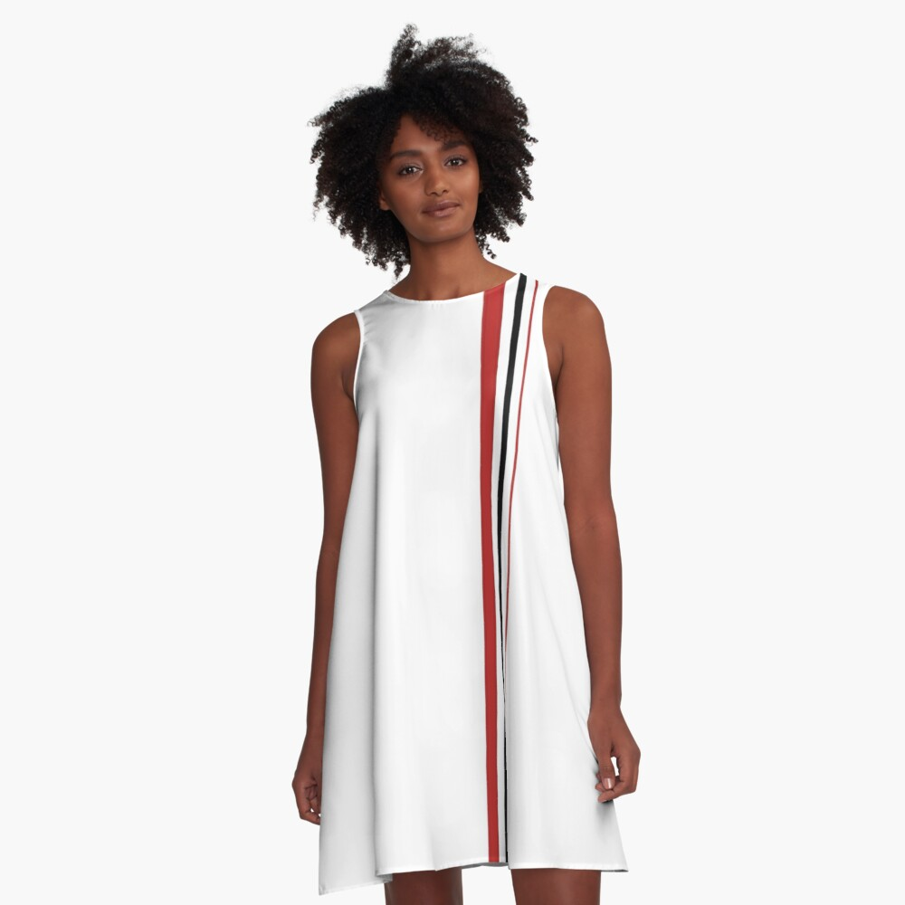 Red And Black Vertical Lines Very 60 S A Line Dress By Shavenmonkeys Redbubble
