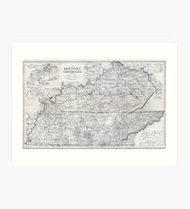 ca. 1870 Kentucky & Tennessee Map Art Print