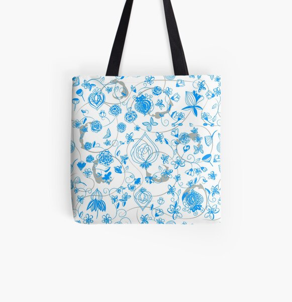 Blue Chinoiserie All Over Print Tote Bag