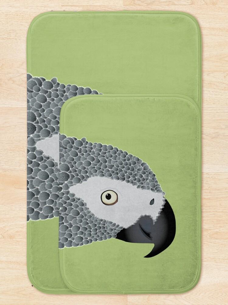 Alternate view of African Grey Parrot [ON MOSS GREEN] Bath Mat