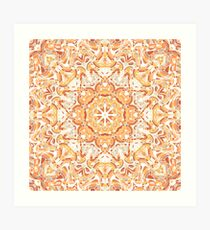 Orange and Apricot Floral Mandala Art Print