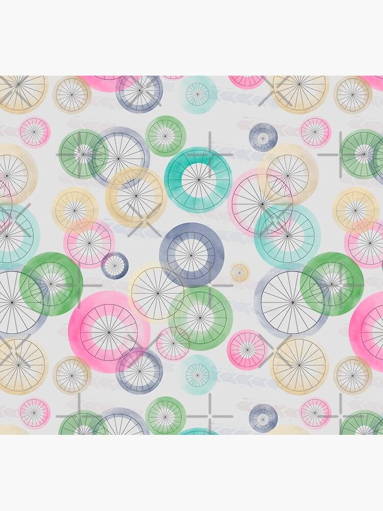 Watercolor Wheels on Gray by Stasiajahadi