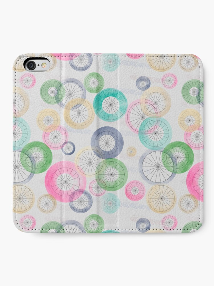 Alternate view of Watercolor Wheels on Gray iPhone Wallet