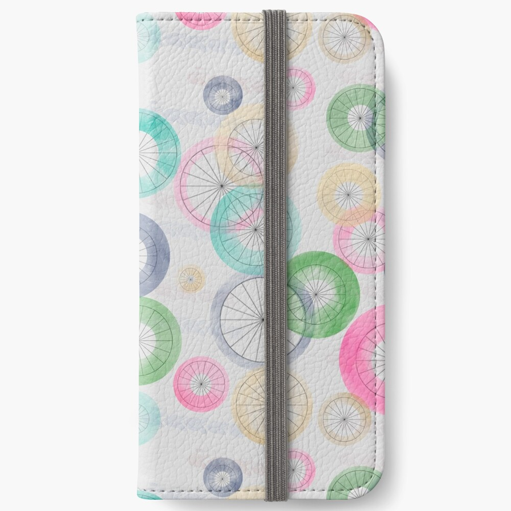 Watercolor Wheels on Gray iPhone Wallet
