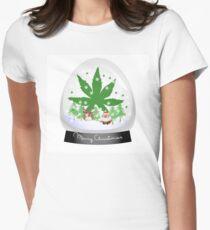 Merry Christmas Marijuana Snow Globe Womens Fitted T-Shirt