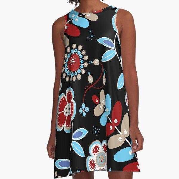 1960s Retro Bohemian Hippie Flower Power A-Line Dress