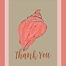 Sea Shell Thank You Card by GrimalkinStudio