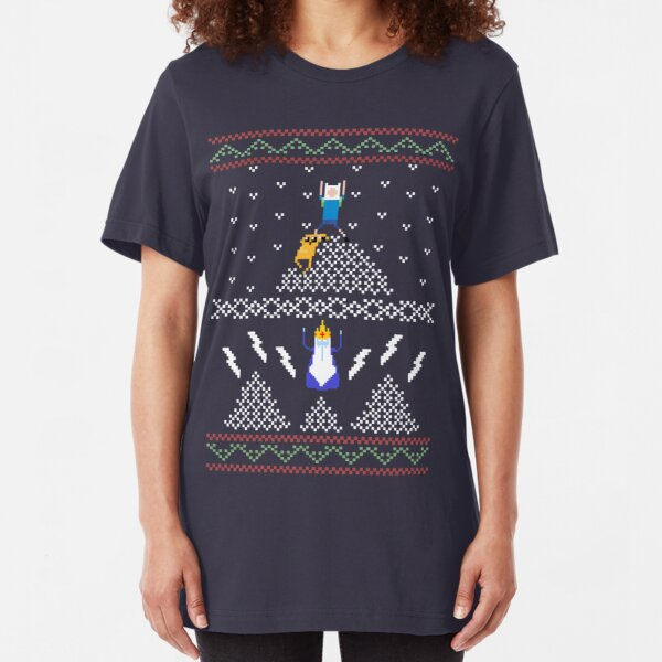 Ugly Christmas Shirt Time! Slim Fit T-Shirt