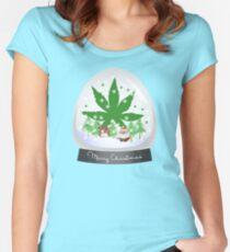 Merry Christmas Marijuana Snow Globe Women's Fitted Scoop T-Shirt