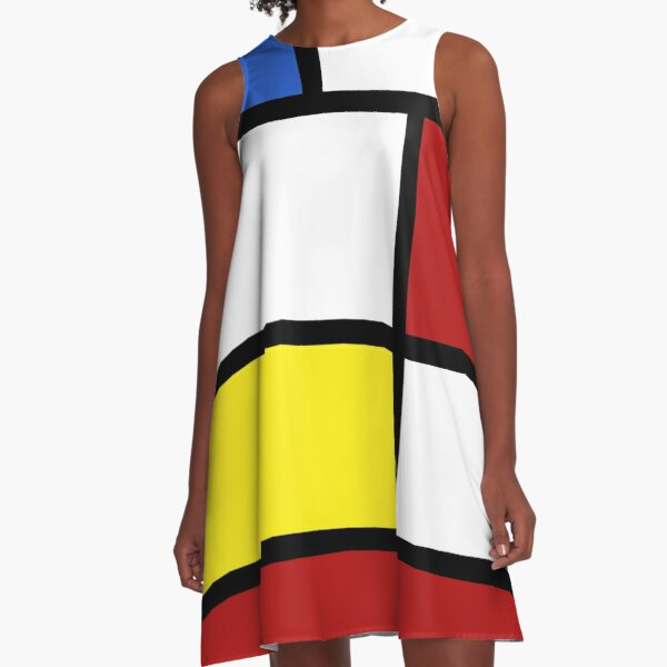 60's White, red and yellow box pattern A-Line Dress