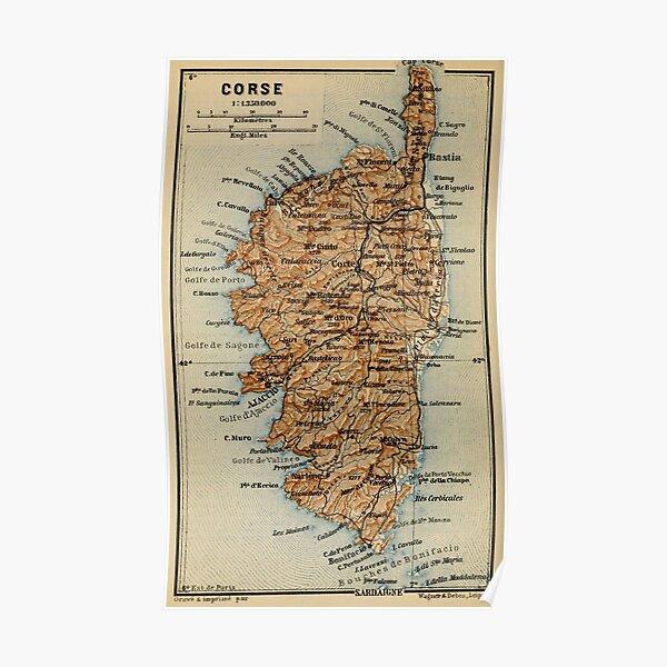 Carte de France Corse d'époque (1886) Poster