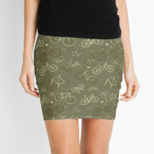 I love bikes in Army Green Mini Skirt