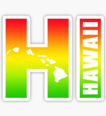 Big Hawaii HI - Rasta Surfer Colors Sticker