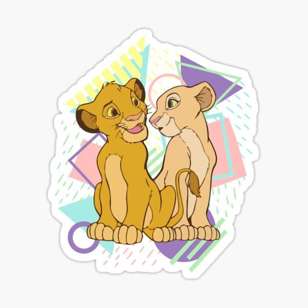 Retro Simba and Nala Sticker