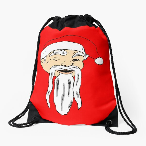 Asian Santa Fu Manchu Beard and Mustache Chinese Christmas Drawstring Bag