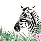 Zebra, tropische Blätter und Blüten, Tier, Kinderzimmer, trendige Einrichtung, Interior Art Print von juliaemelian