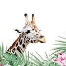Giraffe, tropische Blätter und Blüten, Tier, Kinderzimmer, trendige Einrichtung, Interieur Kunstdruck von juliaemelian