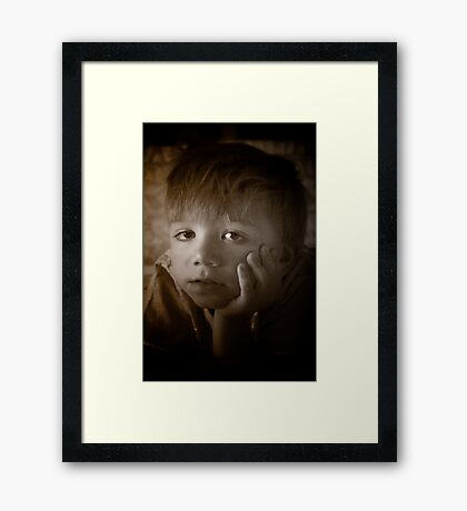 The Contemplative Toddler Framed Print
