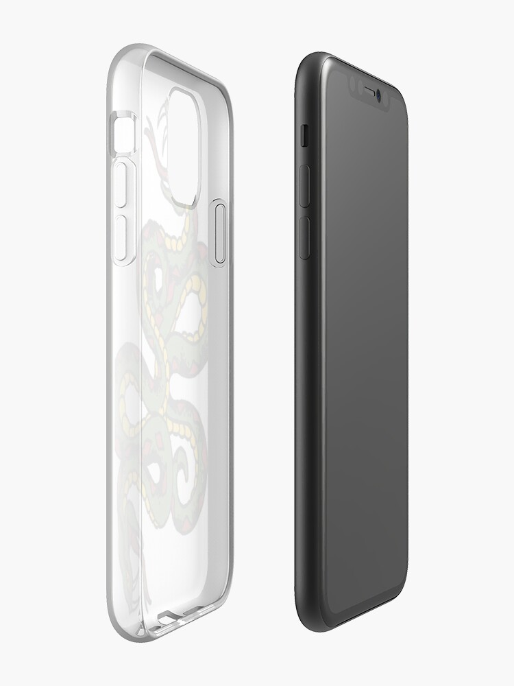 paris boutique | Coque iPhone « Serpents torsadés - Combats de serpents - Style de tatouage », par RainBirdDesigns