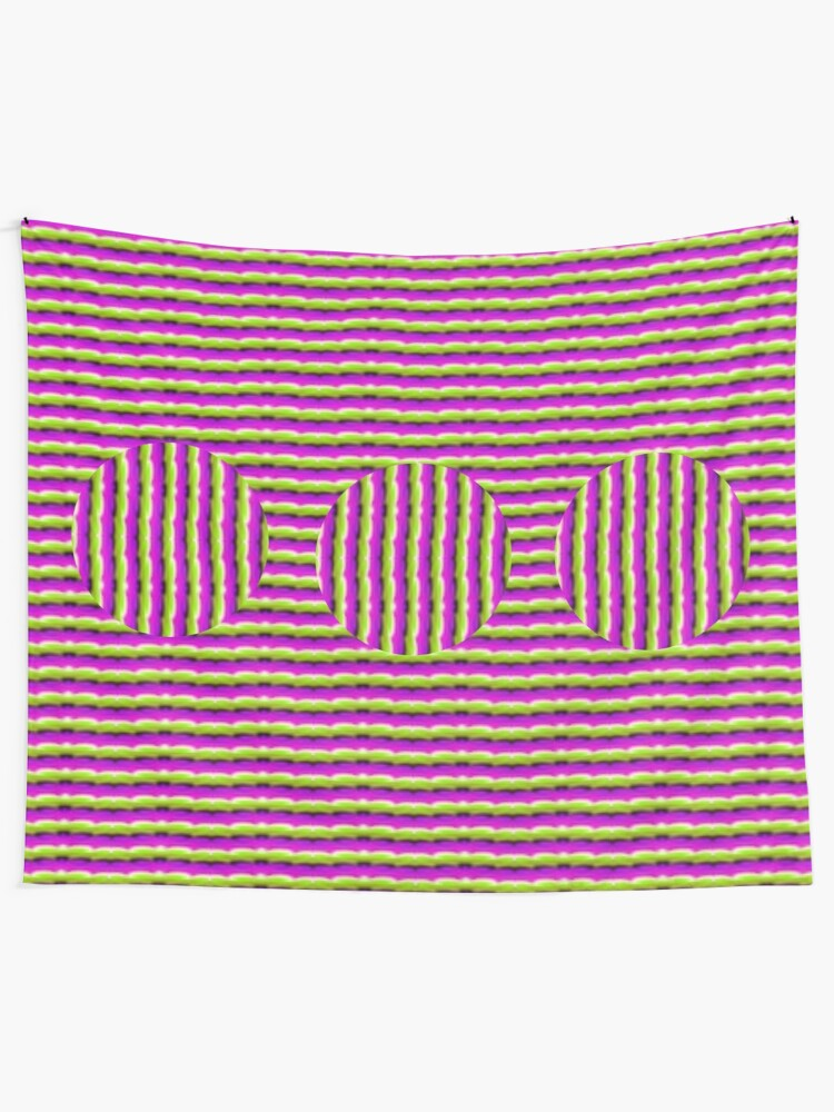 Alternate view of  Op art - art movement, short for optical art, is a style of visual art that uses optical illusions Tapestry