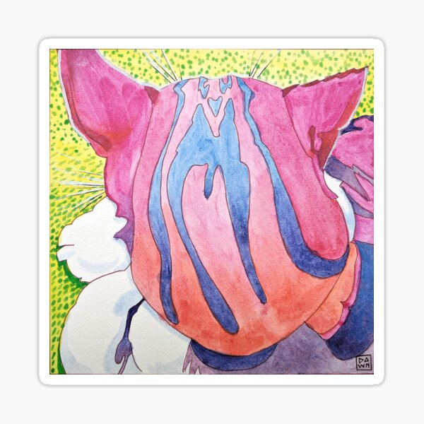 Pop Art Back of Tabby Cat Head Ink Painting in Intense Colors and Patterns Sticker