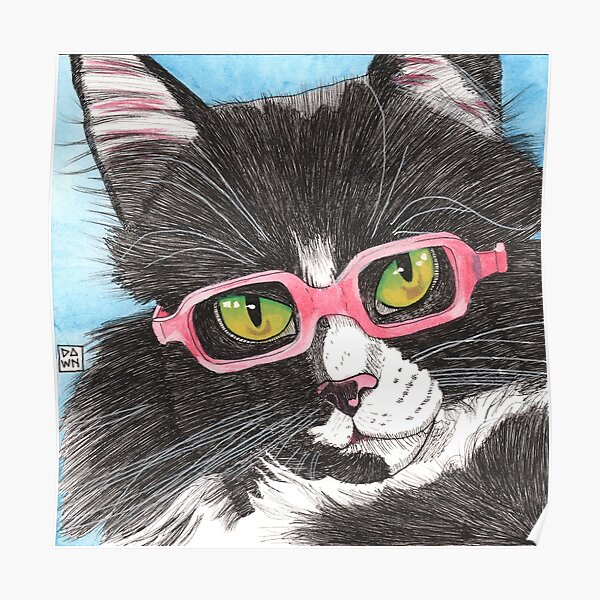 Pop Art Tuxedo Cat Ink Painting in Pink Glasses Poster