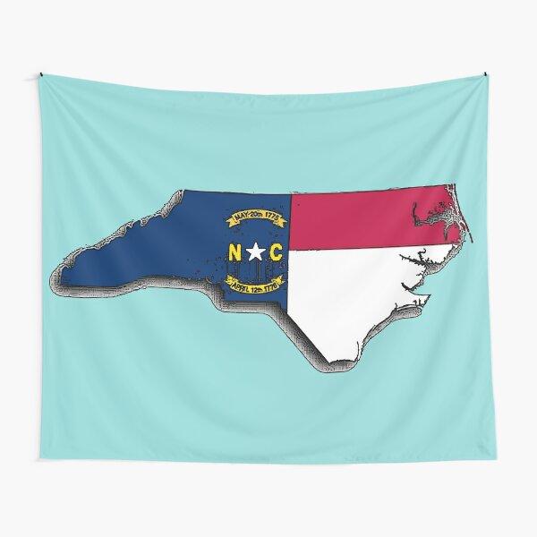 North Carolina Map With North Carolina State Flag Tapestry