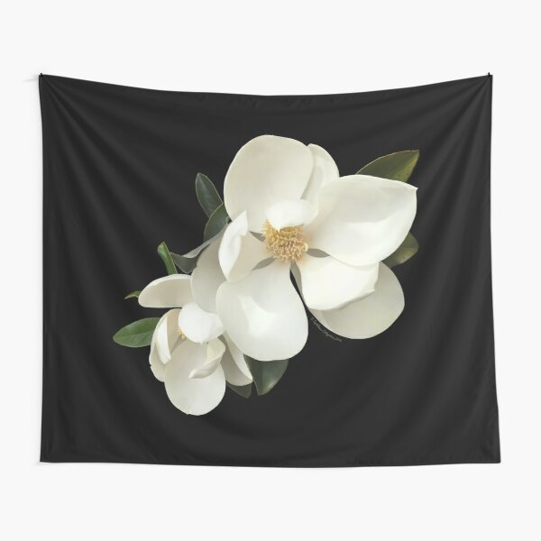 White Magnolias on Black Background, Square, Digital Fine Art Painting Tapestry