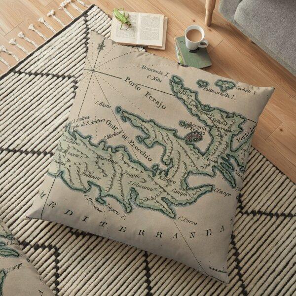 Vintage Elba Italy Map (1800) Floor Pillow