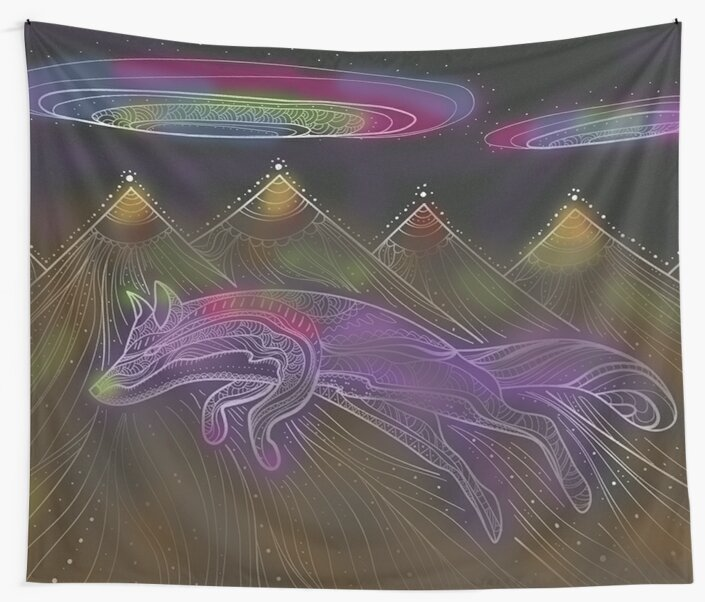 UFO Disclosure Desert Mountains Wall Tapestry