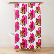Butterfly on Pink Hibiscus Flower Joypixels Emoji Shower Curtain